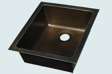 Kitchen Sinks - Bronze Kitchen Sinks- Custom Kitchen Sinks Bronze Kitchen Sinks - Small Undermount W/ Medium Patina # 5232