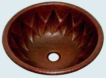 Bath Sinks - Copper Bath Sinks- Round Copper Bath Sinks - Starburst Round # 2864