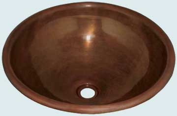 Bath Sinks - Copper Bath Sinks- Round Copper Bath Sinks - Sunday Silence # 1987