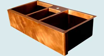 Kitchen Sinks - Copper Kitchen Sinks- Extra Large Sinks Copper Kitchen Sinks - Triple Bowl W/ Vegetable Sink # 3392