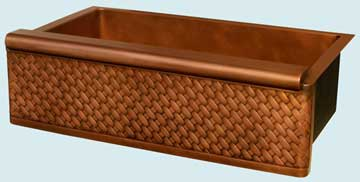 Kitchen Sinks - Copper Kitchen Sinks- Woven Aprons Copper Kitchen Sinks - Raised Apron With Diagonal Weave # 3394
