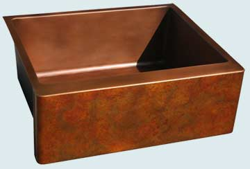 Kitchen Sinks - Copper Kitchen Sinks- Old World Patinas Copper Kitchen Sinks - Renoir Old World On Prep Sink # 3658