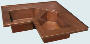 Kitchen Sinks - Copper Kitchen Sinks- Special Shapes Copper Kitchen Sinks - 5-Sided Bowls In Corner Sink # 3661