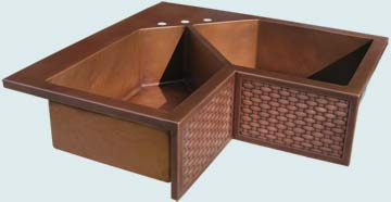 Kitchen Sinks - Copper Kitchen Sinks- Special Shapes Copper Kitchen Sinks - 5-Sided Bowls & Woven Apron # 3662