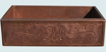 Kitchen Sinks - Copper Kitchen Sinks- Repousse Aprons Copper Kitchen Sinks - Random Distressed With M Initial & Scrolls # 3667