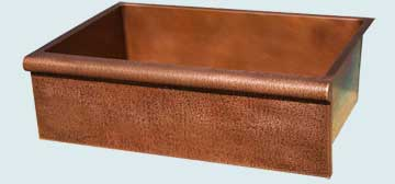Kitchen Sinks - Copper Kitchen Sinks- Special Aprons Copper Kitchen Sinks - Bullnose Apron with Random Hammering # 3675