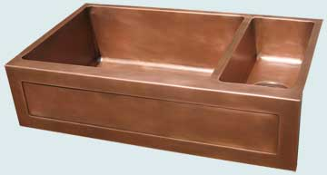 Kitchen Sinks - Copper Kitchen Sinks- Special Aprons Copper Kitchen Sinks - Framed Apron W 2 Compartments  # 3677