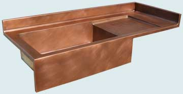 Kitchen Sinks - Copper Kitchen Sinks- Kitchen Centers Copper Kitchen Sinks - Flush Style W/ Splash,Drainboard,Apron # 3681