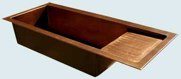 Kitchen Sinks - Copper Kitchen Sinks- Drainboards Copper Kitchen Sinks - Drop-In with Drainboard # 3407