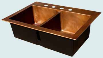 Kitchen Sinks - Copper Kitchen Sinks- Custom Kitchen Sinks Copper Kitchen Sinks - Drop-In W/ Lowered Divider # 3413