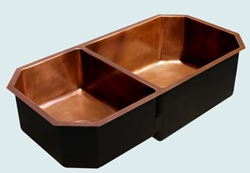 Kitchen Sinks - Copper Kitchen Sinks- Custom Kitchen Sinks Copper Kitchen Sinks - Octagonal 2-Compartment # 3425