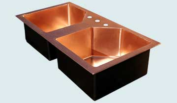 Kitchen Sinks - Copper Kitchen Sinks- Custom Kitchen Sinks Copper Kitchen Sinks - 5-Sided Drop-In With Hammered Deck  # 3435