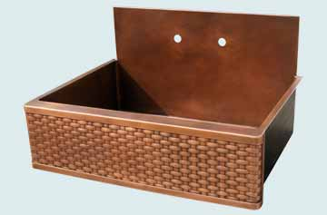 Kitchen Sinks - Copper Kitchen Sinks- Backsplashes Copper Kitchen Sinks - Flush Back Splash & Woven Apron # 3444