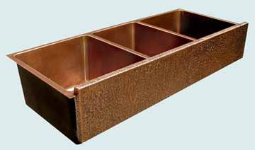 Kitchen Sinks - Copper Kitchen Sinks- Extra Large Sinks Copper Kitchen Sinks - Triple Bowl W/ Raised & Hammered Apron # 3449