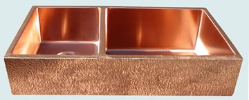 Kitchen Sinks - Copper Kitchen Sinks- Custom Farmhouse Sinks Copper Kitchen Sinks - Large Double,Semigloss,Hammered Apron   # 3453