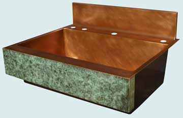 Kitchen Sinks - Copper Kitchen Sinks- Old World Patinas Copper Kitchen Sinks - Verde Fresco Old World Apron,Faucet Deck # 3474