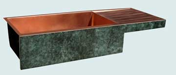 Kitchen Sinks - Copper Kitchen Sinks- Old World Patinas Copper Kitchen Sinks - Verde Fresco Old World,Low Profile Drainboard # 3504