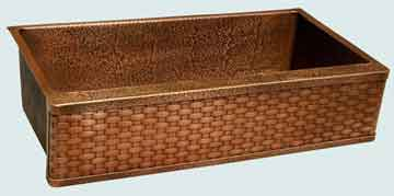 Kitchen Sinks - Copper Kitchen Sinks- Woven Aprons Copper Kitchen Sinks - Random Hammered Sink & Frame With Weave # 3531