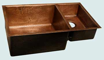 Kitchen Sinks - Copper Kitchen Sinks- Custom Kitchen Sinks Copper Kitchen Sinks - Reverse Hammered 70-30 Undermount # 3545