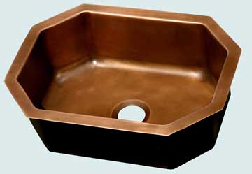 Bar Sinks - Copper Bar Sinks- Bar & Prep Sinks Copper Bar Sinks - Octagon With Wide Angles  # 3546