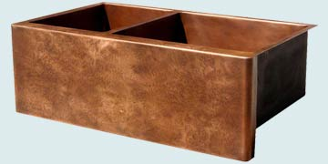 Kitchen Sinks - Copper Kitchen Sinks- Custom Farmhouse Sinks Copper Kitchen Sinks - Ray's Famous Hammered Apron On Two Compartment Sink # 3550