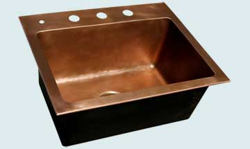 Bar Sinks - Copper Bar Sinks- Bar & Prep Sinks Copper Bar Sinks - Smooth Drop-In With Faucet Holes # 3556