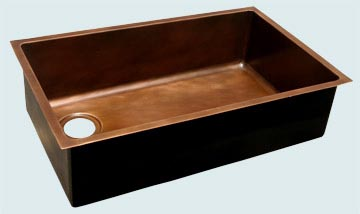 Kitchen Sinks - Copper Kitchen Sinks- Custom Kitchen Sinks Copper Kitchen Sinks - Large, Smooth Undermount Basin # 3558