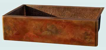 Kitchen Sinks - Copper Kitchen Sinks- Old World Patinas Copper Kitchen Sinks - Crackling Fire Old World Apron, Hammered Interior # 3572