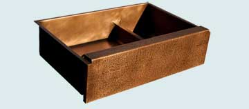 Kitchen Sinks - Copper Kitchen Sinks- Special Aprons Copper Kitchen Sinks - Raised Hammered Apron, Lowered Divider # 3573