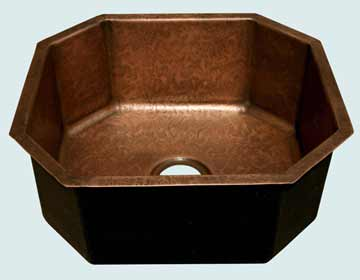 Bar Sinks - Copper Bar Sinks- Bar & Prep Sinks Copper Bar Sinks - Octagon In Ray's Famous Hammering # 3636