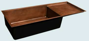 Kitchen Sinks - Copper Kitchen Sinks- Drainboards Copper Kitchen Sinks - Under Mount With Drainboard # 3637