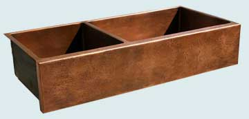 Kitchen Sinks - Copper Kitchen Sinks- Extra Large Sinks Copper Kitchen Sinks - Extra Long 40-60 W/ Reverse Hammered Apron # 3642