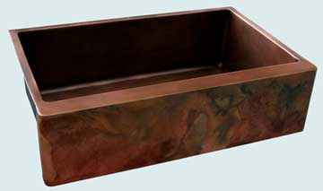 Kitchen Sinks - Copper Kitchen Sinks- Old World Patinas Copper Kitchen Sinks - Lori's Bold Old World On Classic Sink # 3648