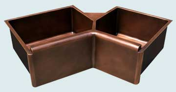 Kitchen Sinks - Copper Kitchen Sinks- Special Shapes Copper Kitchen Sinks - 5-Sided Bowls & Raised Apron  # 3649