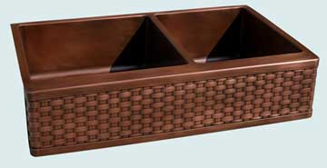 Kitchen Sinks - Copper Kitchen Sinks- Woven Aprons Copper Kitchen Sinks - Standard Weave On Smooth 2 Compartment # 3650