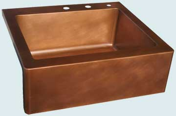 Kitchen Sinks - Copper Kitchen Sinks- Custom Farmhouse Sinks Copper Kitchen Sinks - Flush Mount,All Smooth,Faucet Holes # 3654