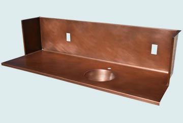 Countertops - Copper Countertops- Straight Copper Countertops - Round Sink & Surround Splash  # 2967