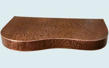 Countertops - Copper Countertops- Curve Copper Countertops - Reverse Hammered Free Form Shelf # 2997