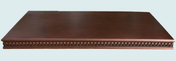 Countertops - Copper Countertops- Straight Copper Countertops - Embossed Braid Pattern Edge # 2998