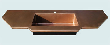 Countertops - Copper Countertops- Island Copper Countertops - Extended Front with Integral Sink # 3305