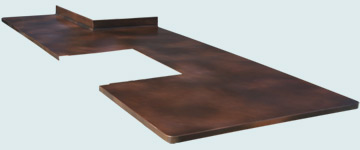 Countertops - Copper Countertops- Island Copper Countertops - Column Notch & Range Cutout # 3324