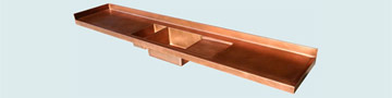 Countertops - Copper Countertops- Straight Copper Countertops - Classic Top with Sinks & Drainboard # 3787
