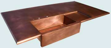 Countertops - Copper Countertops- Island Copper Countertops - Extended Apron & Smooth Drainboard # 3915