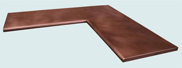 Countertops - Copper Countertops- L Shape Copper Countertops - Smooth Claire Edge # 4004