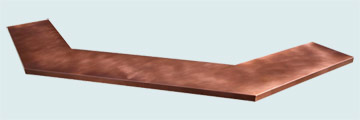 Countertops - Copper Countertops- U & Z Shape Copper Countertops - Long Gullwing Bartop # 4008