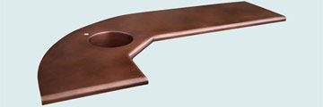 Countertops - Copper Countertops- L Shape Copper Countertops - Curved Lower Bar # 4220