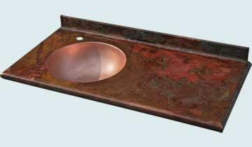 Countertops - Copper Countertops- Straight Copper Countertops - Guest Bath W/ Round Sink # 4752