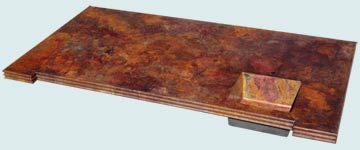 Countertops - Copper Countertops- Island Copper Countertops - Mont St Michel Edges & Cracklin Fire Patina # 4882
