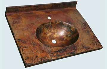 Countertops - Copper Countertops- Straight Copper Countertops - Canyonlands Old World Patina, Oval Sink # 2972