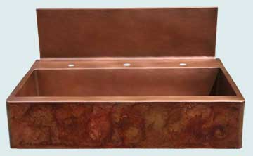 Kitchen Sinks - Copper Kitchen Sinks- Old World Patinas Copper Kitchen Sinks - Tall Splash W/ Crackling Fire Patina On Apron # 2778